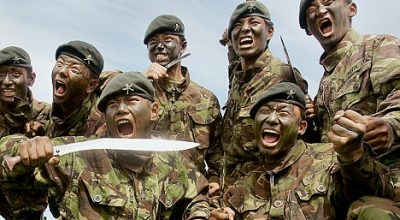 Gurkhas from the 1st Batallion The Royal Gurkha Rifles perform a Khukuri fighting demonstration at Sir John Moore Barracks in Folkestone, England, Thursday July 19, 2007. The 1RGR will be deployed to Afghanistan in autumn 2007. The MOD has announced improved pensions for Gurkhas and a review of the mechanism for increasing Gurkha pensions. (AP Photo/Kirsty Wigglesworth)